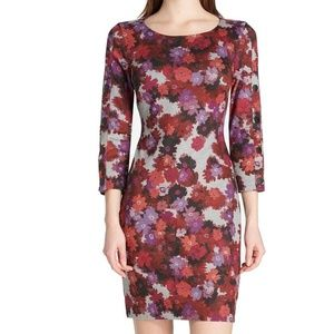 Tommy Hilfiger Gray Red Women's Size 8 Sheath Flor